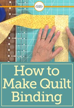 Dana Jones teaches you how to prepare a binding for attachment to a quilt. She demonstrates some of the essential quilting tips and techniques that you'll need to use in order to properly create decorative binding strips that you can use on any quilt. Quilting For Beginners, Sewing Projects For Beginners, Quilting Tips, Quilting Tutorials, Quilting Projects, Beginner Quilting, Quilting Patterns, Nine Patch, Quilt Binding Tutorial