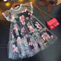 Buy Floral Prints Fly Sleeve Dress online with cheap prices and discover fashion… - Wedding Dresses Frocks For Girls, Kids Frocks, Little Dresses, Little Girl Dresses, Cute Dresses, Girls Dresses, Cheap Dresses, Baby Dresses, Dresses Dresses