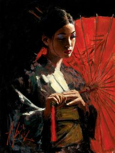 """""""Michiko With Red Umbrella"""" -- by Fabian Perez (1967, Argentinean)"""