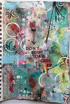Art journal page with gelli print scraps, stencil girl stencils, lots of paint & ink.