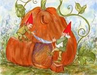 Gnomes Carving a Pumpkin House Card  Price $2.95