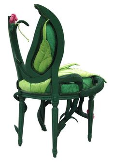 Alice in Wonderland green chair w/ a pink rose and fabric leaf detail, by Rachel Battais