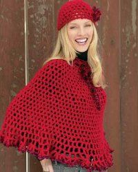 Lacy Poncho and Cap - free crochet pattern