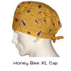 Surgical Scrub XL Caps Honey Bee 100% cotton made in the USA