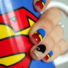 4 Clever Superman Nail Art Ideas  Designing your nails is SO EASY with MOYOU nail art kits! Visit our website: www.lvnailart.com