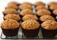 The Parenting Project: (no sugar) Carrot, Apple and Zucchini Muffins. I just made these and they are awesome! Didn't have zucchini so I subbed grated beets. The muffins are bright pink! Gluten Free Zucchini Muffins, Veggie Muffins, Carrot Muffins, Cranberry Muffins, No Sugar Snacks, Yummy Treats, Sweet Treats, Muffin Recipes, Scone Recipes