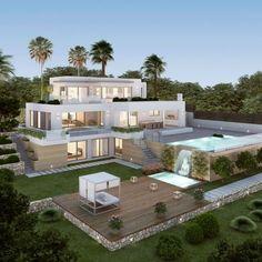 20 most popular modern dream house exterior design ideas 17 « Diy Best Garden Deko Dream Home Design, Modern House Design, Luxury Modern House, Big Modern Houses, Luxury Villa, Future House, My Dream House, Casas The Sims 4, Dream Mansion