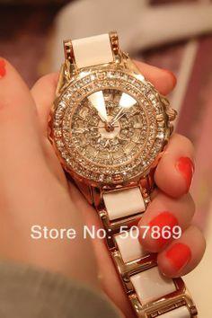2014 New Brand Fashion Luxury Gold Women's Ladies dress Watch Rhinestone White Ceramic Watch Diamond Wristwatches Free Shipping -in Wristwat...