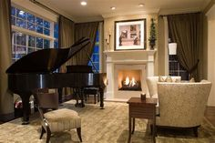 Grand Piano Putting In Elegant Living Room Interior Design with Beige Color Combine with Dark Green Curtain Also Fireplace Beautiful Interior Design, Small Interior, Piano Living Rooms, Elegant Living Room, Small Rooms, Interior Design, Room, Room Interior, Grand Piano Living Room
