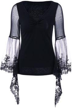 $12.75 Flare Sleeve Lace Trim T-Shirt - Black