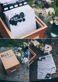DIY Hochzeitsgästebuch in vintage Karteikartenkasten mit über 15 Ideen für DIY Gästebuchkarten - Lückentexte, Texte und Fragen Just Married, Diy And Crafts, Blog, Gift Wrapping, Memories, Creative, Fun, Karten Diy, Weddings