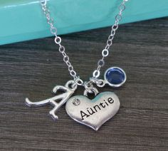 Auntie Auntie Necklace Personalized Auntie by MadiesCharms on Etsy