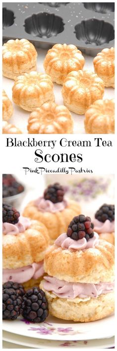 Pink Piccadilly Pastries: Cream Tea Scones with Blackberry Whipped Cream
