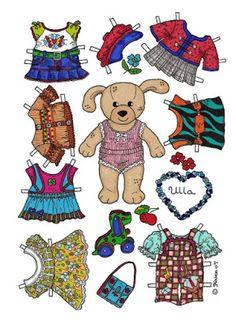 Karen`s Paper Dolls: Ulla 1-2 Paper Doll in Colours. Ulla 1-2 påklædningsdukke i…