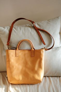 Hand Stitched Light Brown Leather Tote Bag by ArtemisLeatherware, $189.00