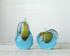 Barbini Fruit Bookends - Murano Glass, Sommerso, 50s