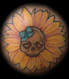 skull in sunflower tattoo - Google Search