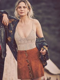 One on One Suede Mini Skirt at Free People Clothing Boutique