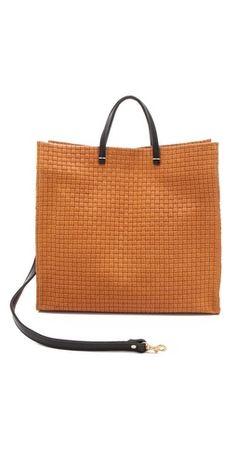 Clare Vivier Simple Woven Tote Tan Handbags ad2ebbdef61c1