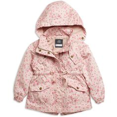 Parkas ❤ liked on Polyvore featuring outerwear, coats, baby, baby girl, short coat, pink coat, parka coat, pink parka and pink parka coat