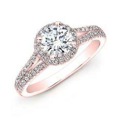 Split Shank Diamond Halo Rose Gold Engagement Ring | bridesandrings.com