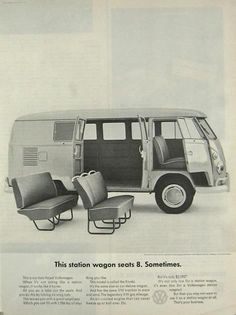 1964 Volkswagen VW Bus Ad ~ Seats 8