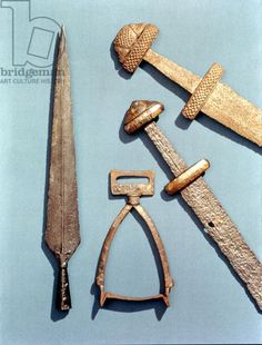 Viking swords, stirrup and spearhead (details) 8th Century