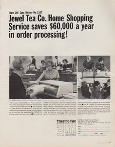 """Description: 1963 3M COMPANY vintage print advertisement """"Jewel Tea Co."""" -- From 3M: Case History No. 1107 -- Jewel Tea Co. Home Shopping Service saves $ 60,000 a year in order processing! This compact, inexpensive THERMO-FAX Copying Machine completely eliminates the need for Jewel Tea Company to write shipping labels. -- Size: The dimensions of the full-page advertisement are approximately 10.25 inches x 13 inches (26 cm x 33 cm). Condition: This original vintage full-page advertisement is…"""