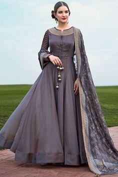 Buy Grey Silk Zari Embroidered Designer Salwar Online Kurti Designs Party  Wear a7f2a1be3