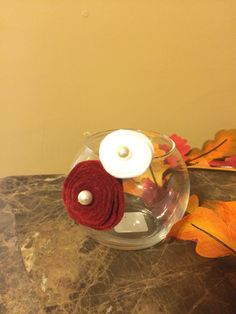Candy bowls hand made felt and pearl flowers