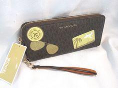 665471395965 Michael Kors Illustrations Fly Away Brown Logo Continental Wallet Wristlet  $178 #MichaelKors #Wristlet Browning