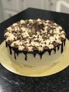 Chocolate Cake with Peanut Butter Icing and Peanut Butter Cups