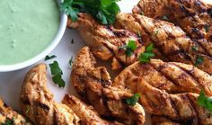 Chipotle Chicken Fingers with Cilantro Sauce