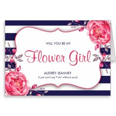 Navy Blue And Pink Will You Be My Flower Girl Card