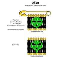 alien.gif (720×582) Safety Pin Crafts, Safety Pin Jewelry, Safety Pins, Bead Patterns, Jewelry Patterns, Alien Design, Bead Art, Bead Crafts, Lapel Pins