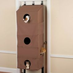 The Over the Door Cat Condo by Hammacher Schlemmer.Door-Hanging Feline Abodes - This Cat Condo Accommodates Five Critters at Once While Saving Space Crazy Cat Lady, Crazy Cats, Cat Condo, Pet Furniture, Pet Accessories, Cat Love, Cool Cats, Pet Care, Cats And Kittens