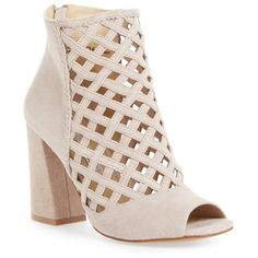 Women's Kristin Cavallari Luxembourg Cage Peep Toe Bootie ($200) ❤ liked on Polyvore featuring shoes, boots, ankle booties, harbor grey, grey suede bootie, grey suede booties, suede boots, gray ankle boots and peep toe ankle boots