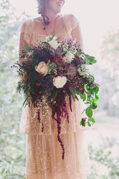 Wild bouquet for a forest elopement from Wildflowers, Inc. - wildflowersinc.com | Photography: Hyer Images - hyerimages.com  Read More: http://www.stylemepretty.com/little-black-book-blog/2014/05/22/intimate-southern-forest-elopement/