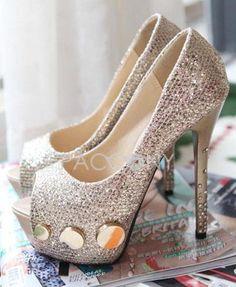 Sexy Rivets Peep-Toe Platform High-Heeled Sandals Diamond Wedding Shoes