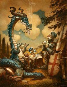 Dragon et Chevalier prennent le thé