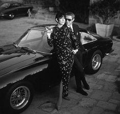 Steve McQueen's 1963 Ferrari 250 GT Berlinetta Lusso, shown with McQueen and model Peggy Moffitt. photo by William Claxton