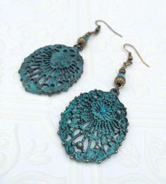 Verdigris earrings unique boho earring green by crushedcameo