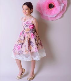 In an assymetric design pink floral printed dress is a pretty choice for her, sleeveless it features a tulle, lace edged underlay and a concealed zip to fasten. - Polyester, Lining: Cotton - Hand wash only Dress P, Tulle, Flower Girl Dresses, Wedding Dresses, Pretty, Cotton, Pink, Design, Fashion