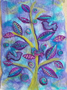 Wall Hanging I made using my own handmade felt, fabric made using the embellisher machine and lots of hand stitching. Aileen Clarke Crafts