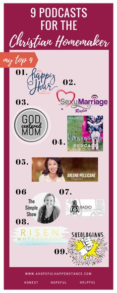 Top podcasts for christian women. Homemaking / wives / marriage / simple living / minimalism / the simple show / happy hour / sexy marriage / sahm / motherhood / around the table / happy home / arlene pelican / jamie ivey