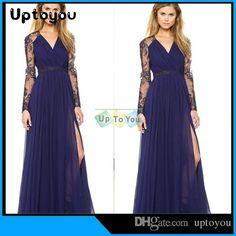Fashion Sexy Ladies 2015summer Autumn Women Deep V-neck Lace Embroidery Stitching Hollow Out Chiffon Dress Long Casual Dress Free Sh from Uptoyou,$7.79 | DHgate.com