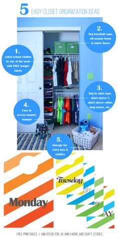 Back To School Closet Organization Ideas & Free Printable Day Of The Week Hanger Labels