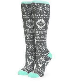 Aperture Grey & Mint Tribal Snowboard Socks