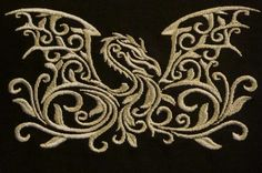 Awesome embroidered dragon design--I wonder if my mom could replicate it with hand stitching? Celtic Dragon, Celtic Art, Fantasy Dragon, Dragon Art, Mythological Creatures, Mythical Creatures, Dragon Occidental, Dragon Dreaming, Dragons