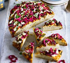 This deep-pan version of a classic Turkish 'pizza' called lahmacun, topped with spicy lamb mince and red onion, cuts into bite-size wedges for a fuss-free yet flavour-packed party nibble